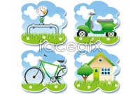 Link to4 low-carbon green tile vector graphics
