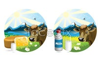 Link to4 milk theme design vector