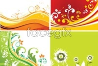 Link to4 plants shaded background vector