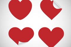 Link to4 red heart sticker vector