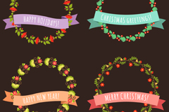 Link to4 ribbon decorated christmas wreaths vector