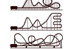 Link to4 roller coaster silhouettes vector