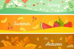 Link to4 seasons banner cartoon vector illustration