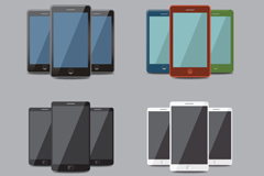 Link to4 set of smart phone design vector
