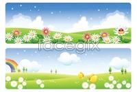 Link to4 spring landscape banner background vector map
