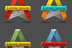 Link to4 triangular origami ribbon tag vector