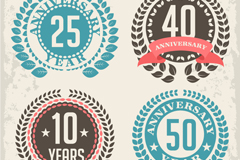Link to4 types of exquisite anniversary tag vector