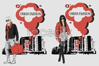 Link to4 urban sketch character vector illustration map