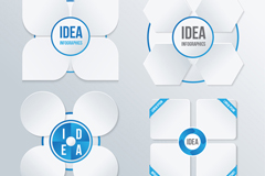 Link to4 white flower graphic elements vector