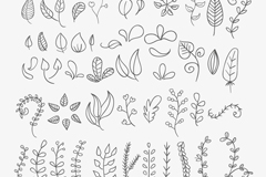 Link to46 hand-painted flowers and foliage vector