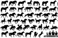 Link to48 horse silhouettes vector