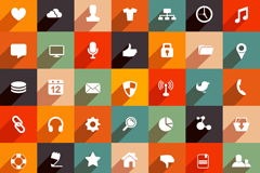 Link to49 flat useful icons vector