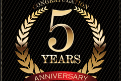 Link to5 anniversary tag vector