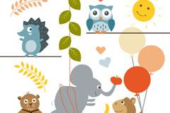 Link to5 cartoon animal design vector