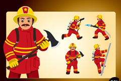 5 cartoon fireman design vector