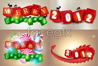 Link to5 colorful christmas background element vector