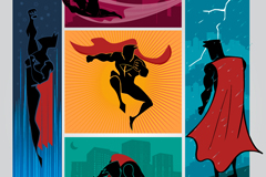 Link to5 combination superman silhouette vector