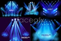 5 fancy stage lights background vector map