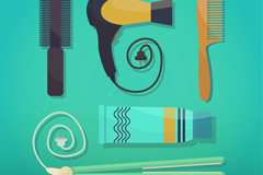Link to5 hair care tools vector