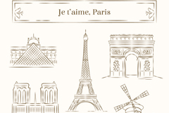 Link to5 hand-painted paris building vector