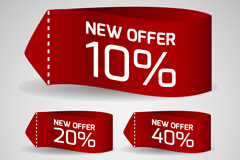Link to5 red discount fabric label vector