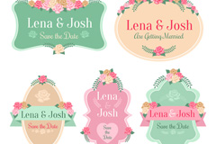 Link to5 roses wedding labels vector diagrams