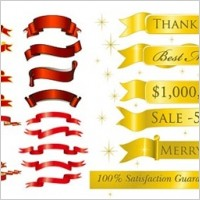 Link to5 sets of festive ribbon banner vector material