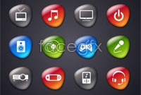 Link to5 sets of smooth crystal icon vector