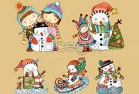 Link to5 snowman cartoon vector