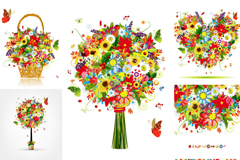Link to5 types of exquisite colorful floral vector illustration