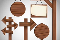 Link to5 wooden plaque and signage design vector