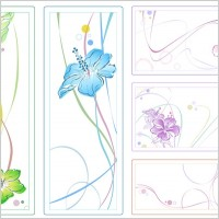Link to5color watercolor style flowers vector