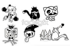 Link to6 black and white styles of cartoon vector illustration