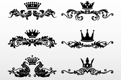 Link to6 black crown design pattern vector