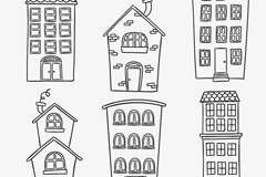 Link to6 cartoon buildings design vector