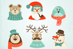 Link to6 cartoon christmas characters vector