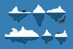 Link to6 cartoon glaciers and polar bears penguins design vector