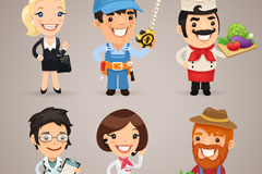 Link to6 cartoon occupational character vector