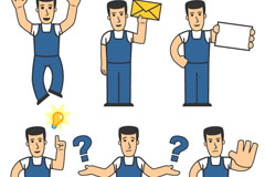 6 cartoon worker design vector