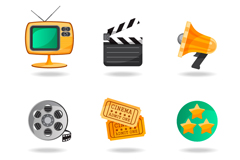Link to6 classy movie element icon vector