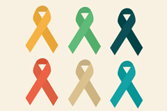 Link to6 color aids ribbon logo design vector