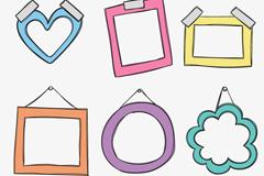 Link to6 colour cartoon photo frames design vector