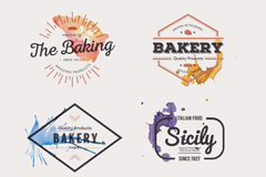 Link to6 creative food and beverage labels vector
