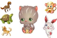 Link to6 cute cartoon animals vector