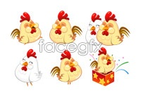 Link to6 cute cartoon hens vector