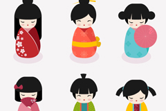 Link to6 cute japan doll design vector