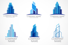 Link to6 fashionable construction logo design vector