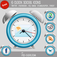 Link to6 free clock social icons