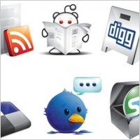 Link to6 free new social icons  digg, twitter, stumble, rss, delicious & reddit