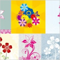 Link to6 handpainted flowers vector